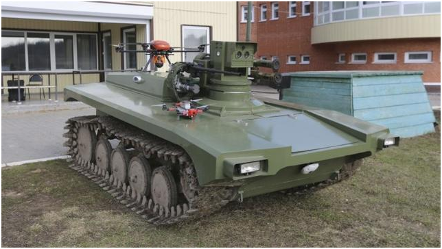One for two: Russian armed unmanned vehicle with two quadrotor drones