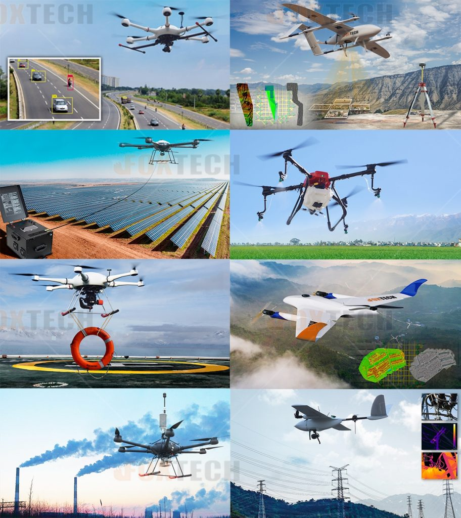 A variety of industrial drones